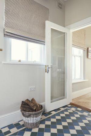 Hallway.tiling,glass door,blinds