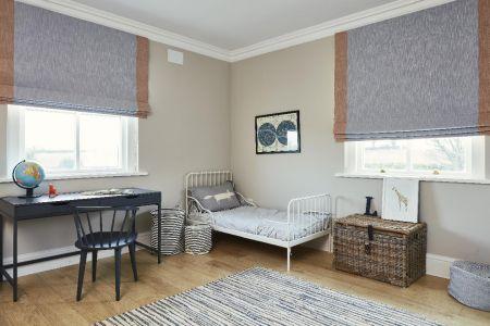 Kids bedroom,timber flooring,blinds,rug,desk,chair,artwork