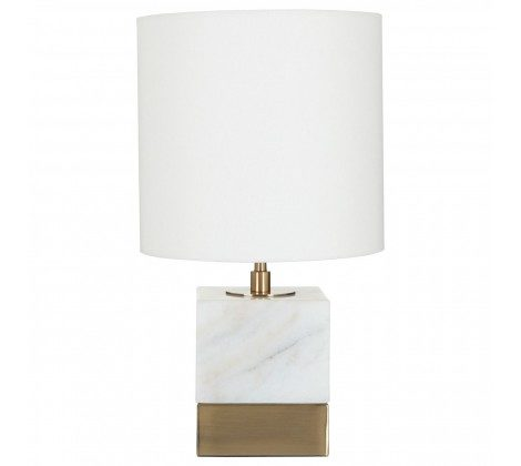 White Marble Accent Lamp With Cream Shade