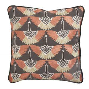 Cushion cover, dark orange bird embroidery