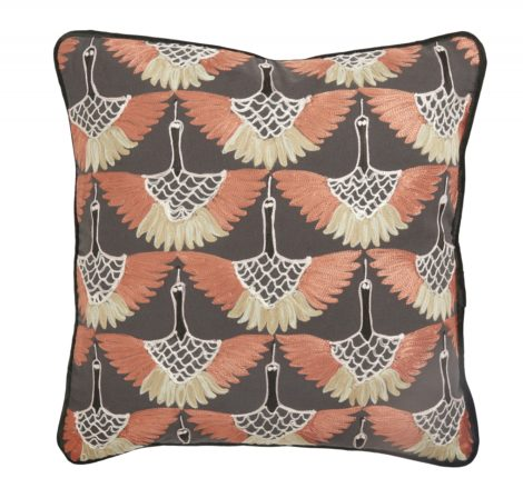 Cushion cover, dark orange bird embroidery