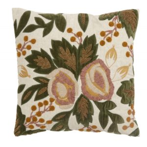 Cushion cover, flowers/beads, rose/curry