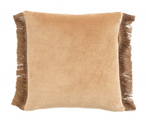 Cushion cover w/fringes, terracotta/gold
