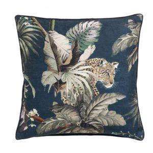 Cushion cover, leo/jungle, dark blue vel