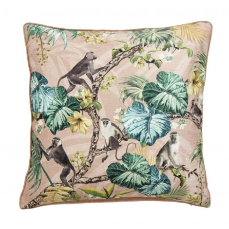 Cushion cover, monkeys, rose, velvet
