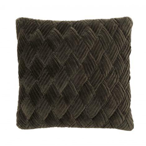 Cushion cover olive, velvet, braided