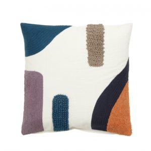 Cushion cover, white w/blue/orange