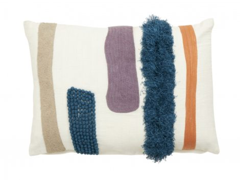 Cushion cover, white w/blue/orange