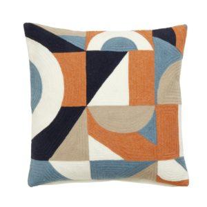 Geometric cushion cover, orange, dusty blue