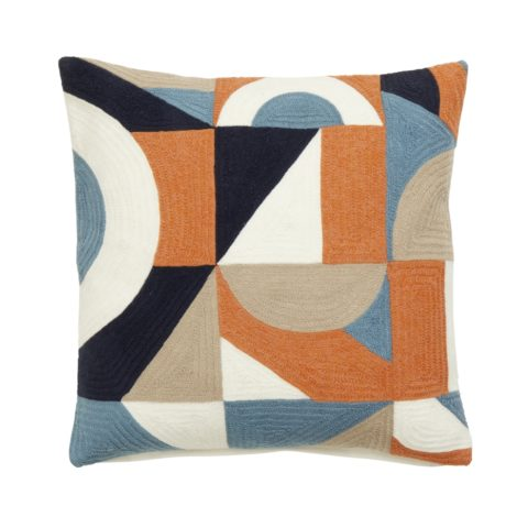 Geometric cushion cover, orange, dusty blue