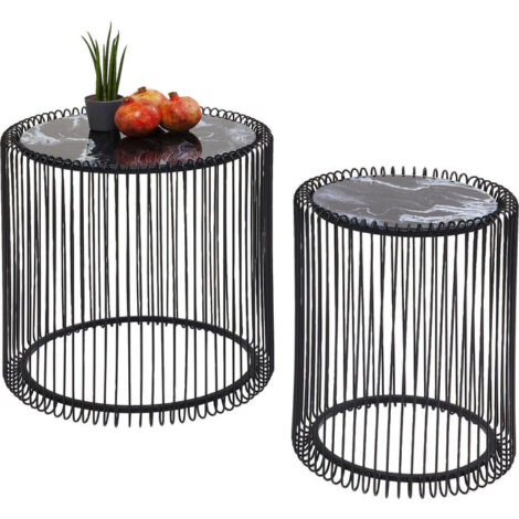 Side Table Wire Marble Glass Black