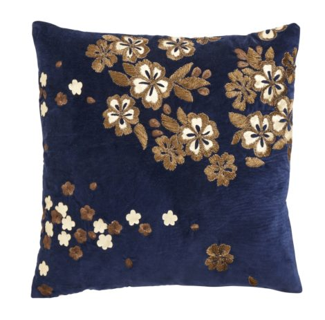 Cushion cover w/embroidery flowers, dark blue