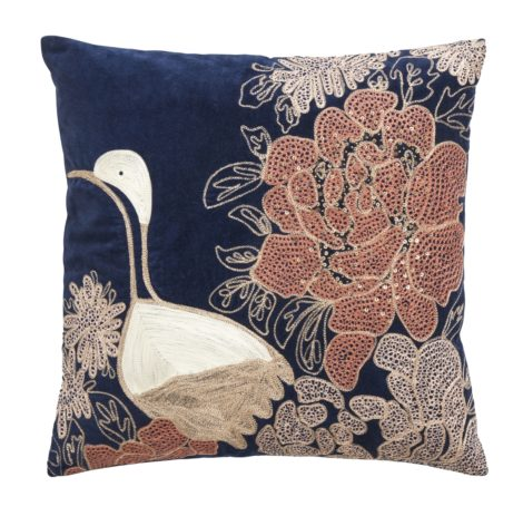 Cushion cover w/embroidery bird, dark blue