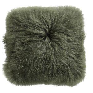 Lamb fur cushion cover, dark green
