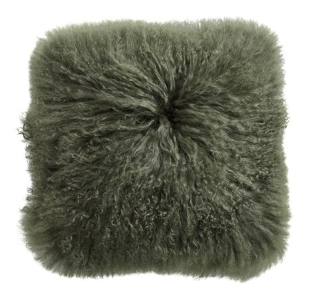 Lamb fur cushion cover, dark green