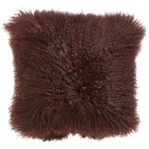Lamb fur cushion cover, wine red