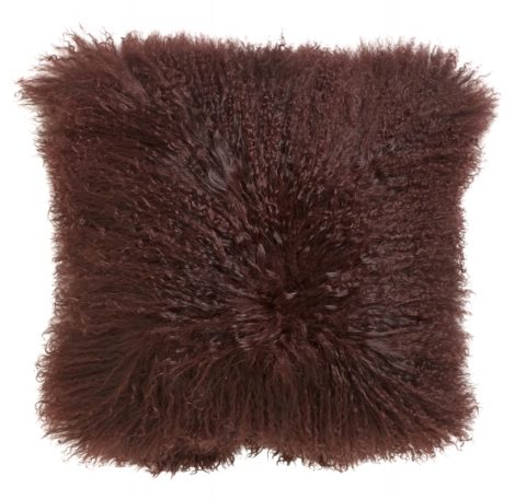 Lamb fur cushion cover, wine red
