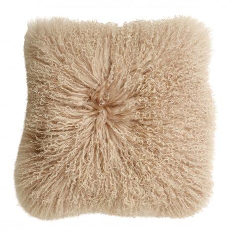 Lamb fur cushion cover, soft pink